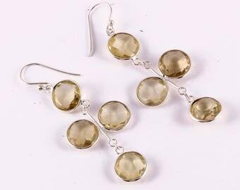 Lemon topaz 92.5 sterling silver earring