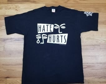 Vintage 90s 1995 Hate Hurts Anti Defamation League Dare Shirt Size Large L
