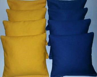 Set Of 8 Yellow & Royal Cornhole Bean Bags