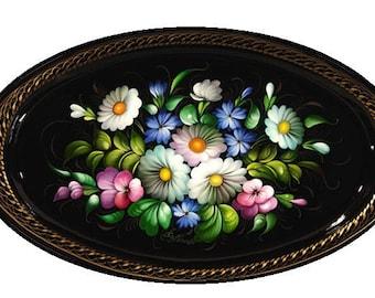Oval Zhostovo Tray (dark background)