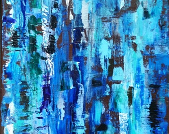 Blue birch: Abstract Acrylic Art