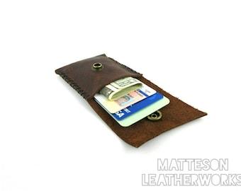 Handmade Leather Card Wallet/Leather Wallet/Bill Fold/Credit Card Wallet/Business Card Wallet/Minimalist/Primitive/Bushcraft/Boho Wallet