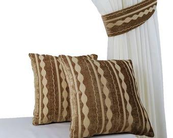 SET 4 pcs, Decorative cushions, Decorative pillows, Curtain tiebacks, Tie backs, Striped decor, Bedroom decor, Sofa pillows, Bedroom decor
