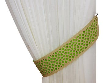 Curtain tiebacks, Laser cutting, Green tiebacks, Drapery tiebacks, Curtain decor, Green decor, Home decor, Tie backs, Curtain tie backs