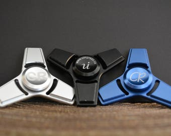 Fidget Spinners Personally Engraved - Tri-Blade Aluminum (Black, Silver, and blue)
