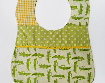 Baby Reversible Alligator Yellow Cotton Bib