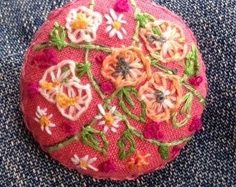 Large Hand Embroidered Floral Brooch