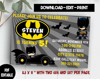 Batman Invitation Download, Editable Batman PDF Template, Batman Invites, Batman Birthday Party, Batman Instant Download, Batman Printables