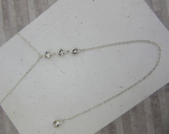 Bodychain Style Necklace with dangle chain Silver Platinum and rhinestones.