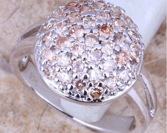 Art Deco French Champagne Morganite Cluster Anniversary Dress Ring in Silver