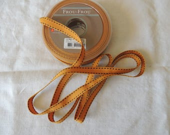 Grosgrain Ribbon stitched Tan stitching 1 cm wide Brown