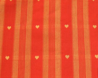 Beige and Red hearts and stripes cotton fabric coupon