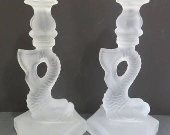 """Viking Glass Diving Dolphin Koi Fish Satin Frosted *2* Pair 9.5"""" Candle Holders"""