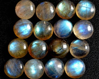 Natural labradorite cabochon round loose gemstone 7 mm AAA Quality