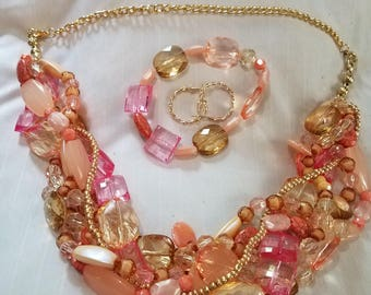 Fun, Chunky, Braided necklace set.