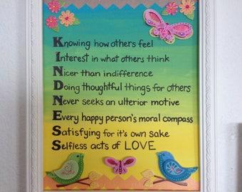 Wall Decor Kindness Butterflies Birds Flowers