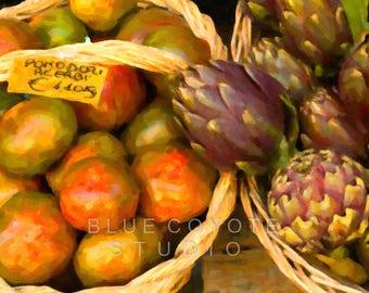 Tomato Print Kitchen Art Botanical Print Italy Print Artichoke Print Digital Download Printable File #bc112