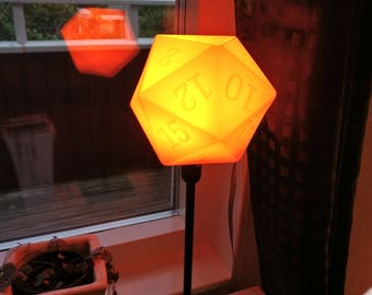 D20 Table Lampshade | Dungeons and Dragons | DnD Dice | Magic the Gathering | Desk Lamp | Polyhedral dice | Dungeon master | Pathfinder