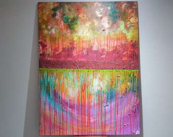 """Me Dreams, My Hopes, Desires and Fears. Original Mixed Media Abstract Painting. One-of-a-Kind. Wall Art. Home Decor. 48""""x36"""" (HxW)."""