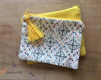 Pocket textile yellow Pompom