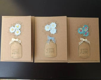 Handmade 'With Love' Flower and mason jar Cards