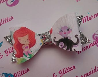 Little mermaid glitter hair bow