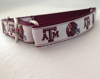 Martingale Dog Collar, Medium Maroon Martingale Collar, Medium A&M Martingale Dog Collar, Medium Adjustable Dog Collar