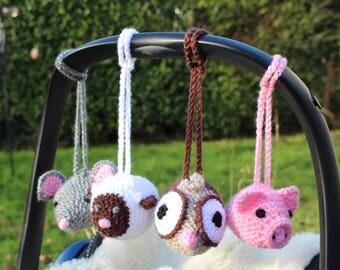 Baby Gym Toys, Pram Toys, Crib Toys. Set Of Four Rattle Toys - Hand Crocheted