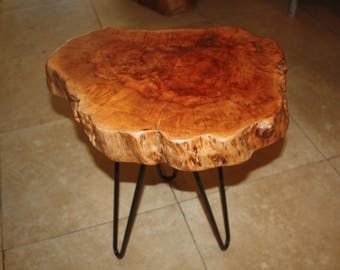 live edge Natural teak slab wood slab End table Trunk slice iron legs made in Bali