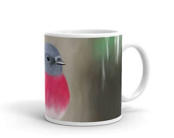 Rose robin original unique digital painting white glossy mug