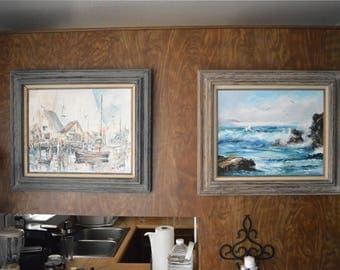 Vintage paintings by Alida Van Gores, California coastal impressionism. LOT of two oil paintings.