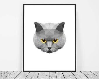 Low Poly Cat Print, Digital Download, Geometric Printable Art, Cat  Art, Animal Print