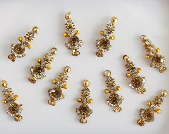 Antique Gold Straight Bindis,Wedding Long Bindi Sticker,Stone Bindi,Gold Bindis Face Jewels Bindis ,Antique Bindis,Self Adhesive Stickers