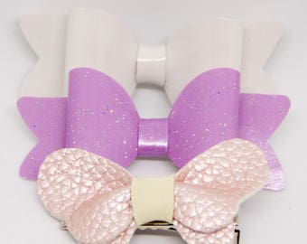 Baby Toddler Girl Leather Pearl Vinyl Glitter Butterfly Hair Bow Set Of 3