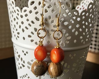Earrings with ONIX and paesina stone