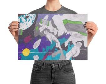 Outer Space Wall Art, Astronaut Art, Astronaut Decor, Outer Space Decor, Room Wall Art, Galaxy Art, Hand Drawn Digital Art, Space Art, Art
