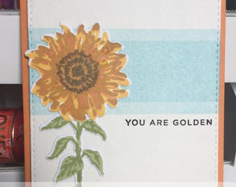 You Are Golden Encouragement Greeting Card with Sunflower
