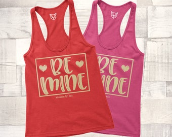 Valentine Tank Top, Be Mine Tank, Love Wins Shirt, GOLD SHIMMER, Valentine Tee, Graphic Tee, Happy Valentine Day, Shirt, Women's Valentine