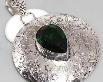 Sterling Silver and green quartz
