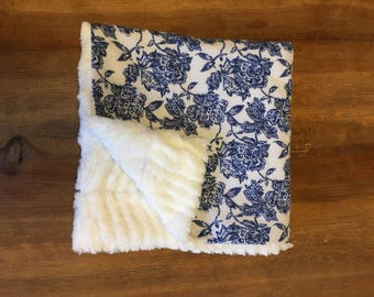 Minky and flannel snuggle blanket-blue floral
