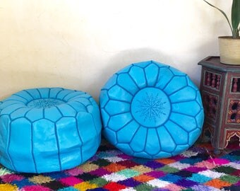 Turquoise round pouf Moroccan Pouf Moroccan leather pouf  Pouf Set of 2  Handmade Leather poufs Leather Ottoman