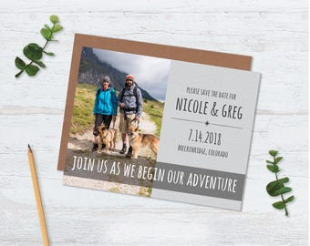 Adventure Magnet Save the Dates, Map Save the Date Adventure, Rustic Map Save the Date, Photo Magnet Save the date, Simple Rustic, Wedding
