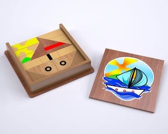 Happy Teacher Sailboat Block Puzzle