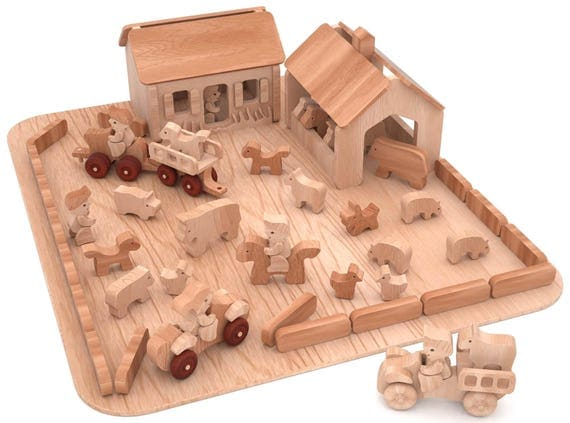 49 Piece Wooden Farm Set