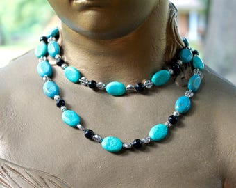 Peruvian Turquoise and Black Onyx Double Stranded Necklace