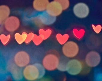 "Abstract, Bokeh, Heart, Modern Photography, Red, Blue, Light, Wall Art, Fine Art Print, Bedroom and Nursery Decor - ""Hearts Brightness"""