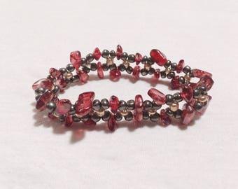 Amber, Onyx & Gold Glass Bead Double Braid Stretch Bracelet - Standard Size