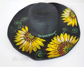 Hand Painted Sunflower Hat, Hanpainted Hat, Sunflower Sunhat, Hanpainted Floral Hat, Sunflower Summer Hat, Flowers Hat, Floral Summer Hat