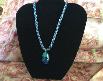 Kumihimo braided necklace with oval glass bead
