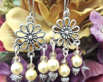 Pearl and Crystal Bead Chandelier Earrings